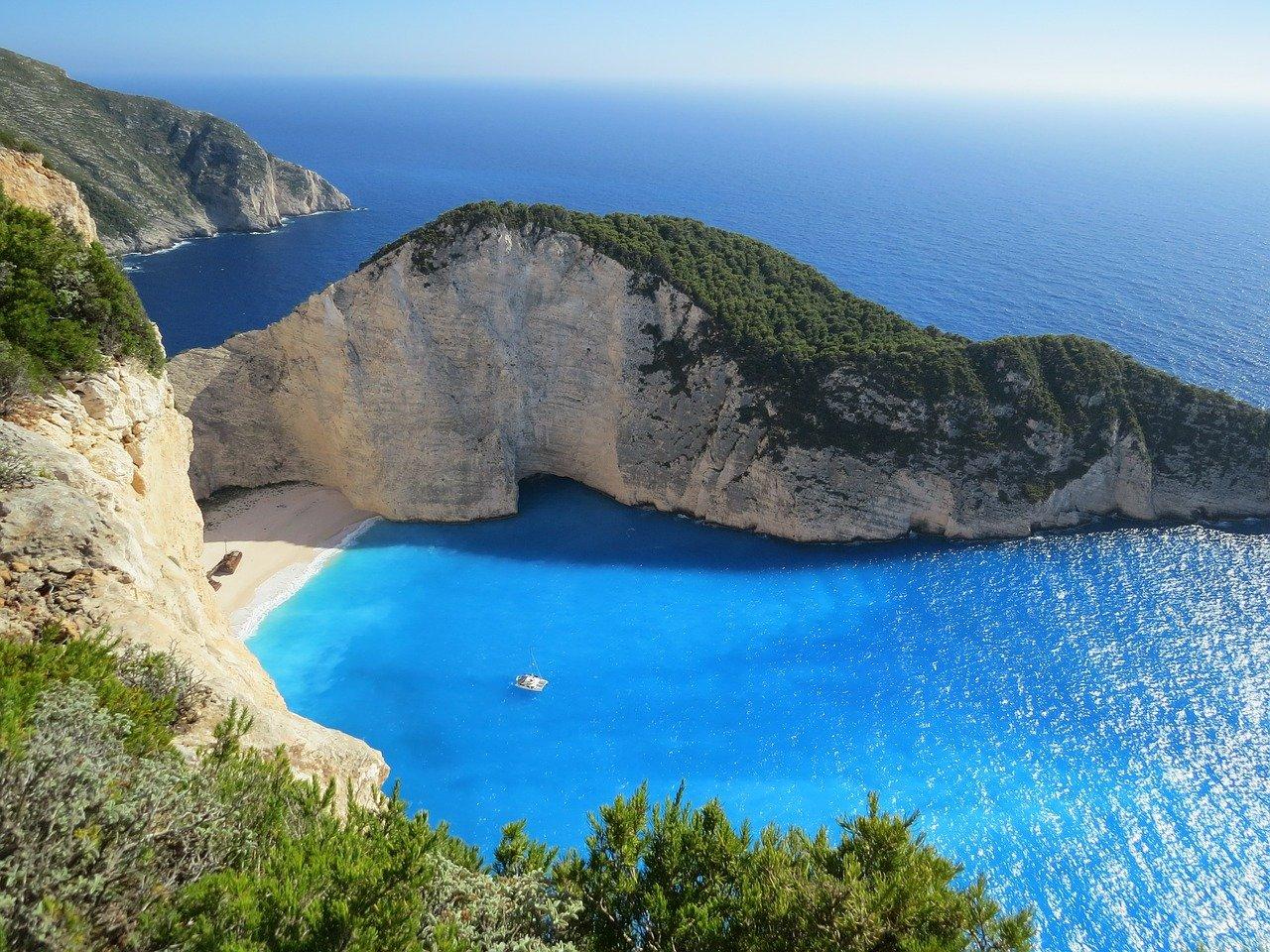 beach, cliff, bay